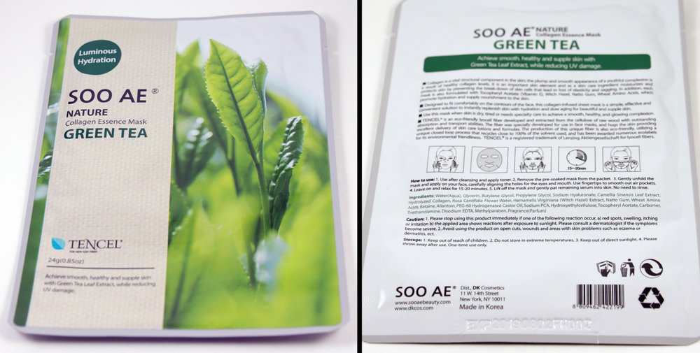 SOO AE  Collagen Essence Mask Green Tea  Made in Korea
