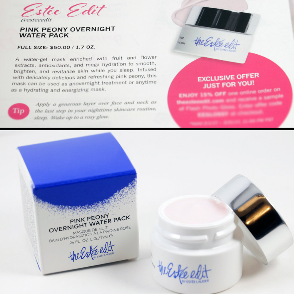 the Estee edit by Estee Lauder  Pink Peony Overnight Water Pack  Made in USA