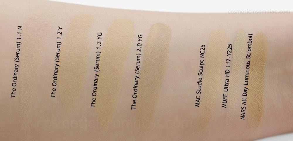 The Ordinary - Serum Foundation     DRY Swatches L to R:    1.1 N, 1.2 Y, 1.2 YG, 2.0 YG   , MAC SS NC25, MUFE Y225, NARS Stromboli