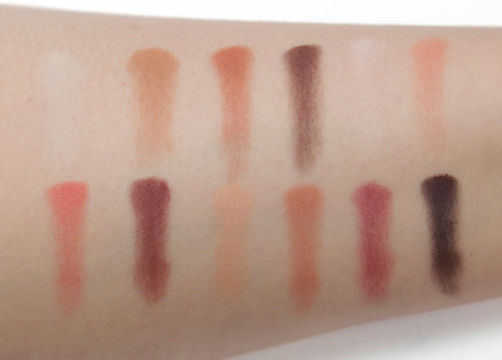 TOO FACED COSMETICS       JUST PEACHY MATTES - VELVET MATTE EYE SHADOW PALETTE       Brush swatches (bare skin),  5000K fluorescent lighting