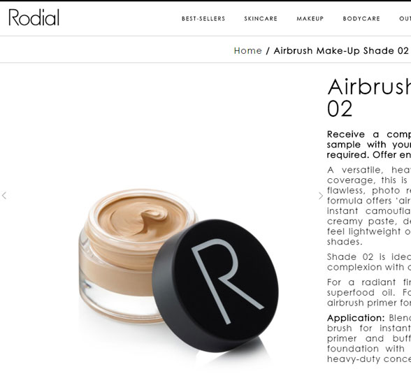 Screenshot of glass  jar from Rodial website.