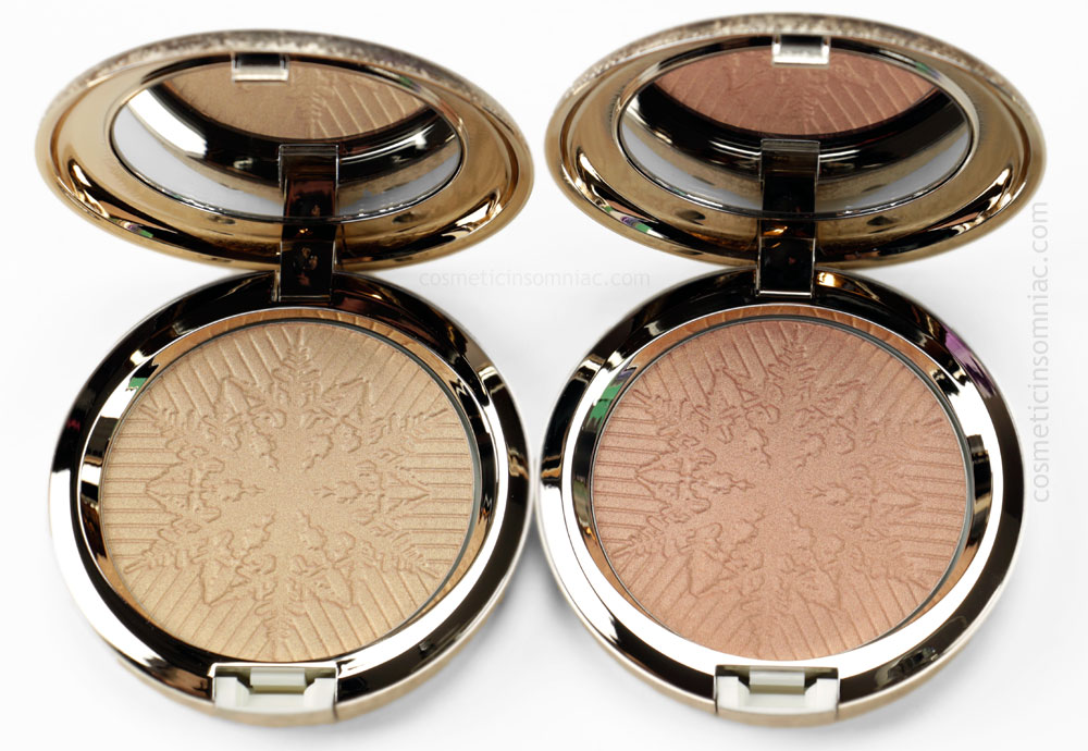 MAC SNOWBALL COLLECTION    FACE POWDER (OPALESCENT)    L TO R:  HAPPY GO DAZZLINGLY, HERE COMES JOY  10g /0.35 US oz each  MADE IN ITALY