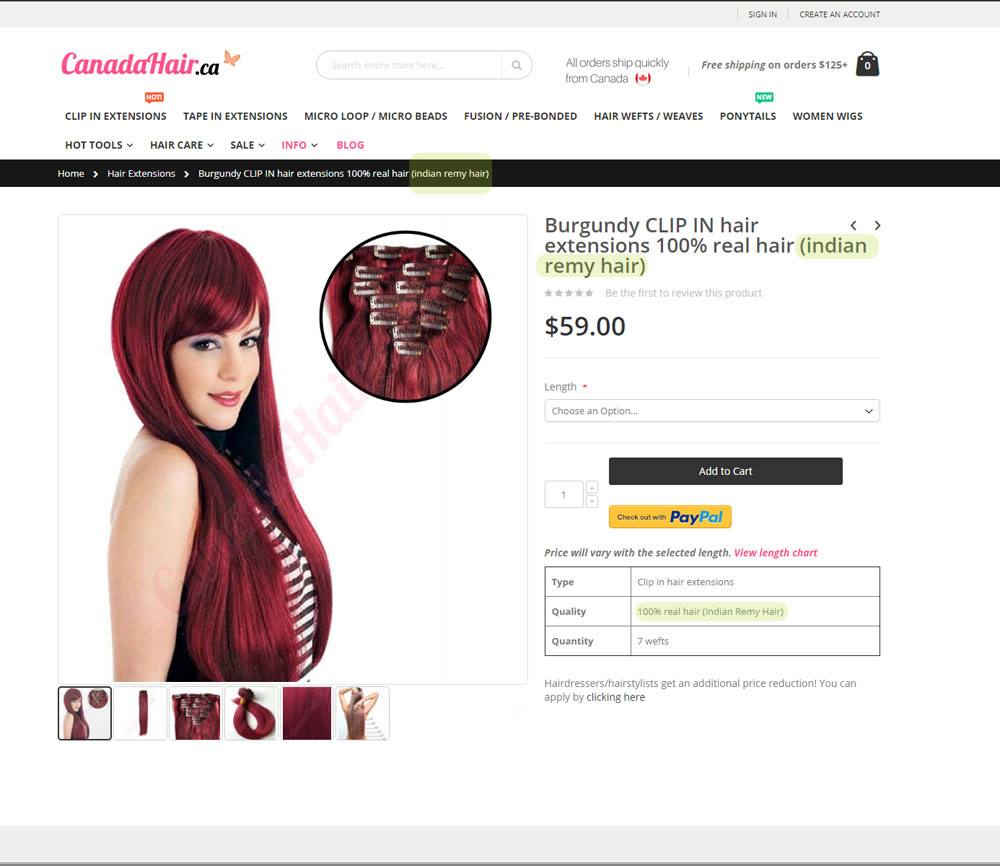 Review Canadahair 14 Clip In Extensions Standard Thickness