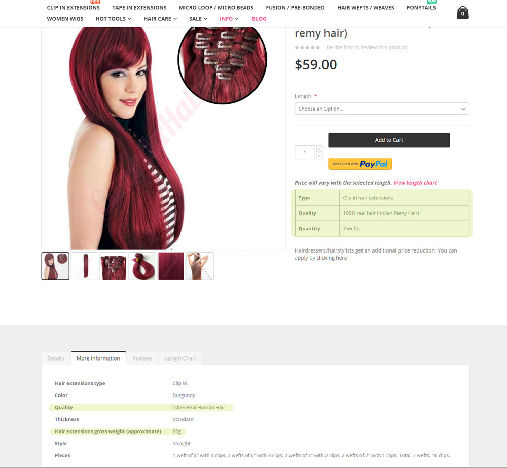 Product screenshot from canadahair.ca  CLICK TO ENLARGE