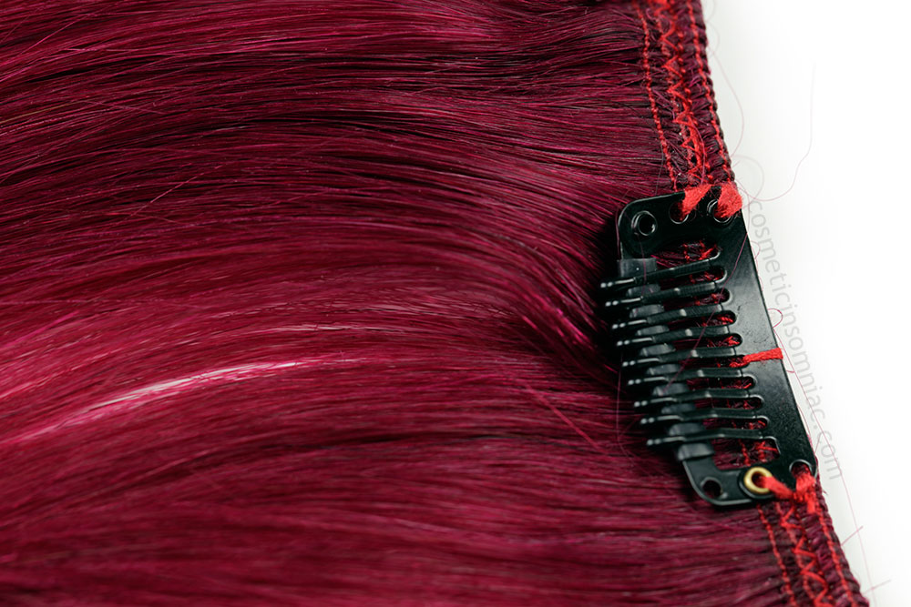 """14"""" Burgundy Clip In Hair from canadahair.ca  Clips and Construction of Wefts  (Click To Enlarge)"""