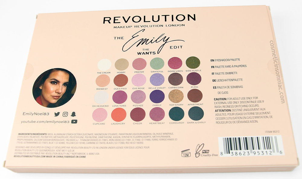 MAKEUP REVOLUTION - THE EMILY EDIT - THE WANTS  $20.00 USD  INGREDIENTS  (click to enlarge)