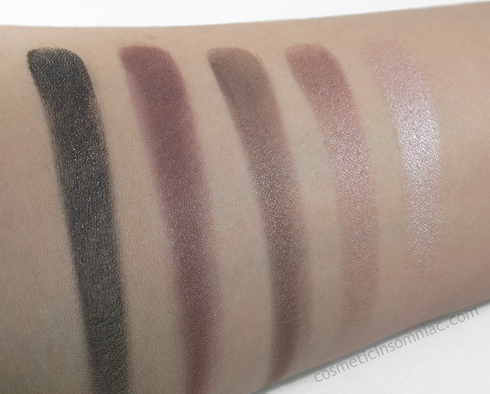 ANNABELLE - Skinny Eyeshadow Palette in Summer Purple Shades  Swatched  on  foundation, in between an NC15-NC20 skin tone  Photo taken under 5000K fluorescent lighting