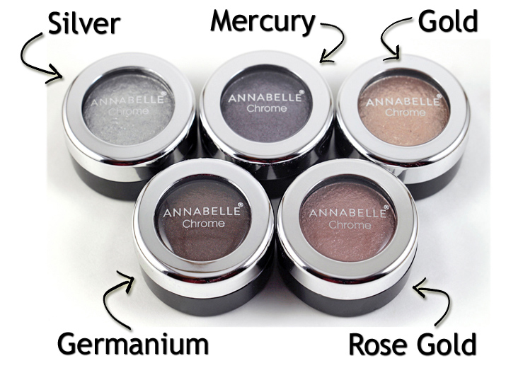 ANNABELLE Cosmetics  Chrome Single Eyeshadow  $8.95 CAD/ea.