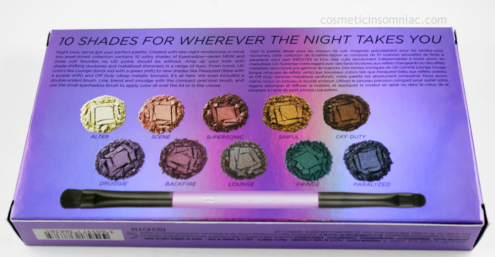 Urban Decay Afterdark Palette     Eyeshadows made in the USA / Brush made in China    (click to enlarge)