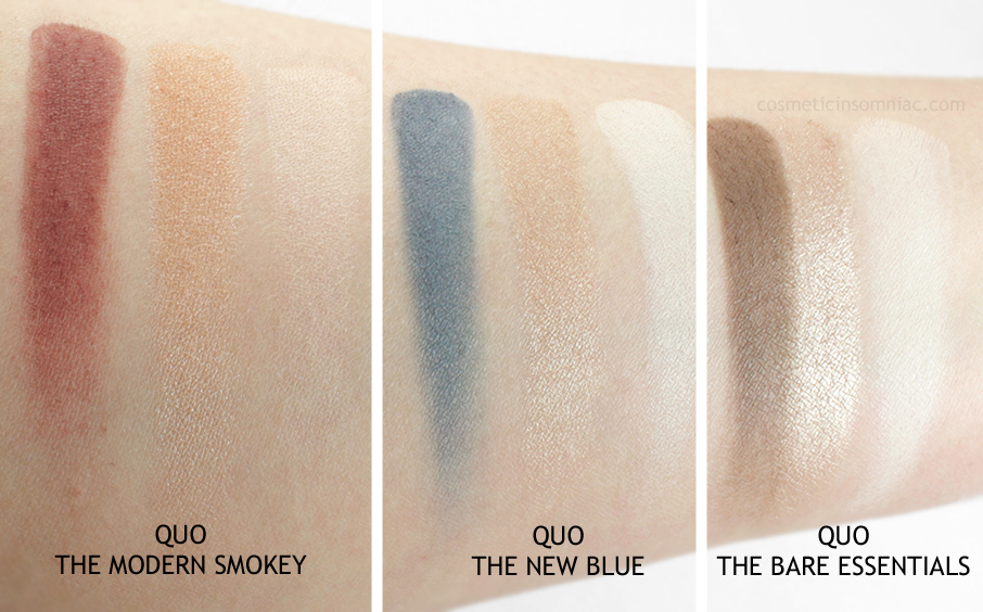 Quo Eye Shadow Palettes Holiday Collection 2016    L to R:  The Modern Smokey, The New Blue & The Bare Essentials  (click to enlarge)