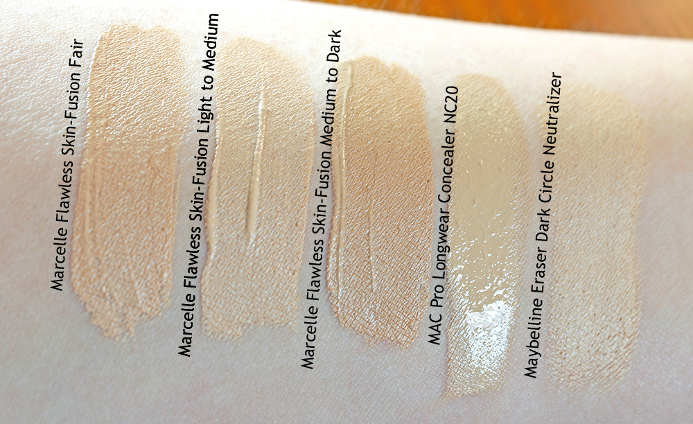 Marcelle Flawless Skin-Fusion Concealer    Swatches taken in indirect sunlight.
