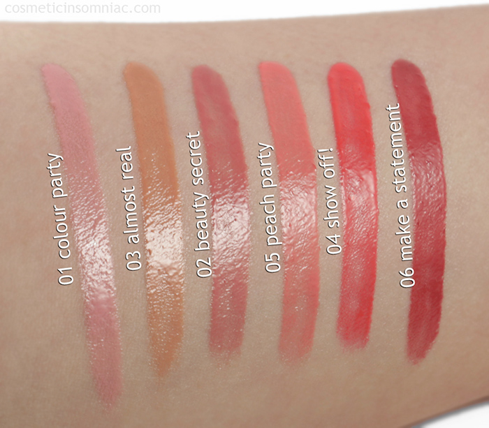 essence cosmetics - Liquid Lipstick  L to Right 01 colour party, 03 almost real, 02 beauty secret, 05 peach party, 04 show off! 06 make a statement  Swatches taken under 5000k fluorescent lighting