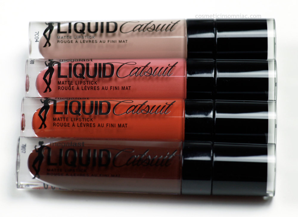 Wet N Wild      MegaLast Liquid Catsuit Matte Lipstick   - $6.99 CAD ea.  Top to Bottom: Nudie Patootie, Coral Corruption, Flame Of The Game, Goth Topic