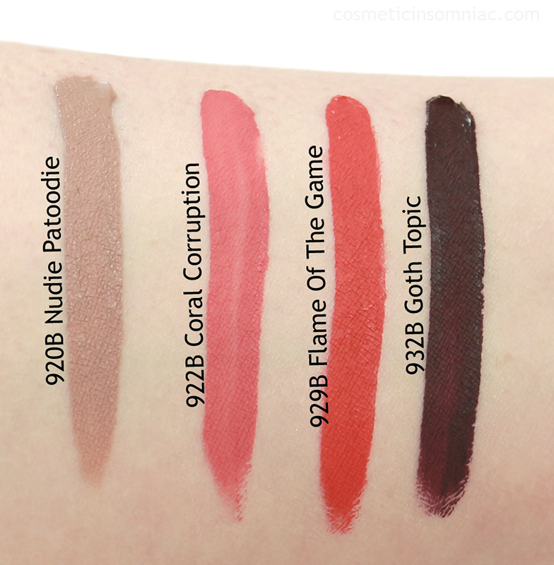 Wet N Wild - MegaLast Liquid Catsuit Matte Lipstick     L to R:  Nudie Patootie, Coral Corruption, Flame Of The Game, Goth Topic  Swatches taken under 5000k daylight fluorescent lighting  (dry)