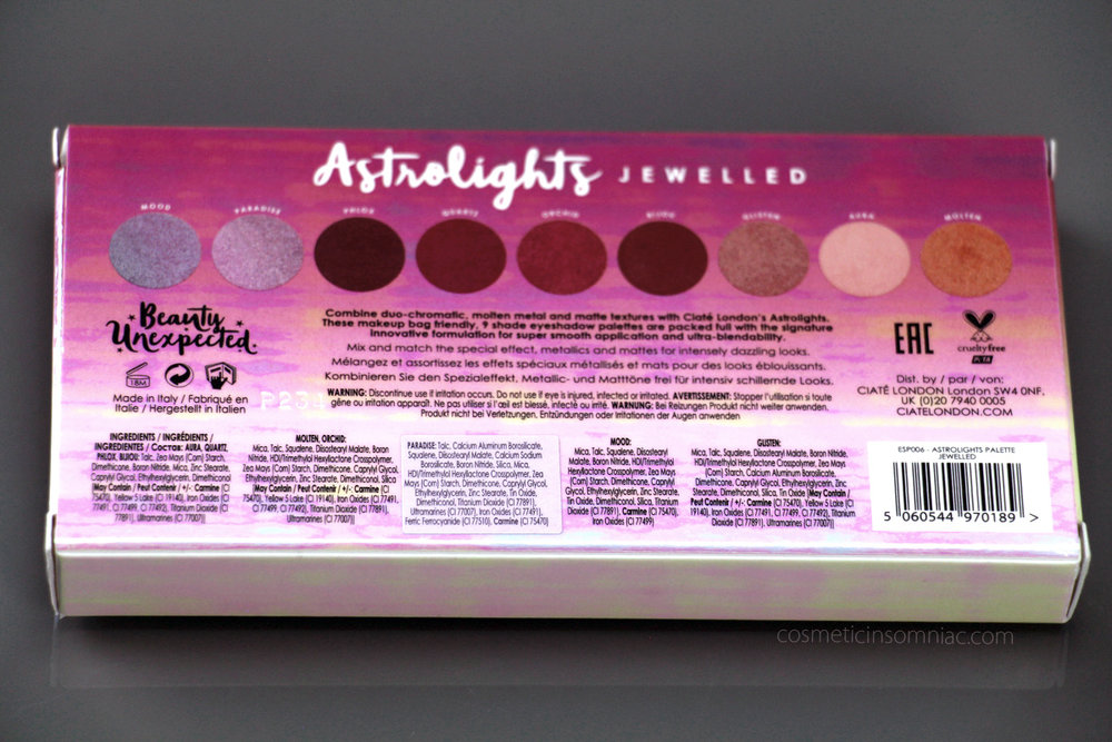 CIATÉ LONDON Astrolights Eyeshadow Palette (Jewelled)     Ingredients    (click to Enlarge)