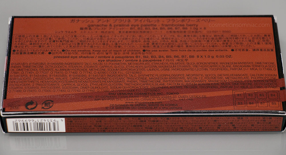 shu uemura ganache & praline eye palette - framboise berry      la maison du chocolat collection      $115.00 CAD     Ingredients (click to enlarge)