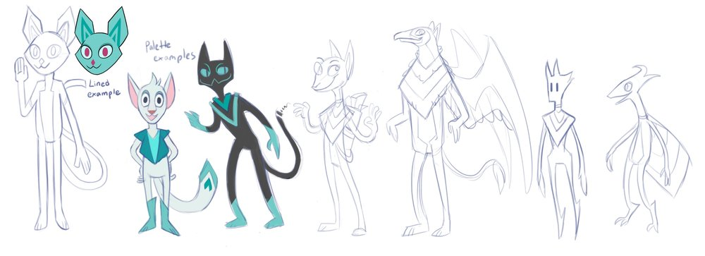 Luka went through quite a few designs before ending up as a teal space cat.