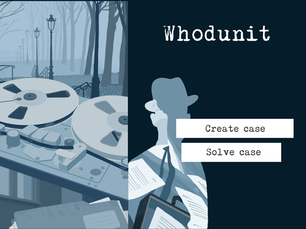 """Whodunit"" is an educational game for tablets. With Whodunit, pupils in primary school (fifth - ninth grade) can create murder mysteries, which their classmates need to solve. Great way to practice problem solving."