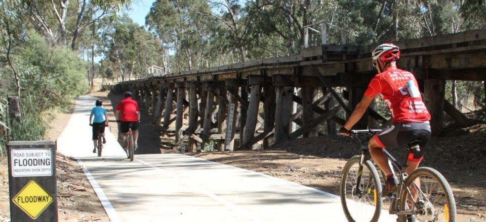 Ride the  Castlemaine Maldon Rail Trail  which travels alongside the Victorian Goldfields Railway.  An 18km ride each way, (or take the steam train one way) and spend a few hours in Castlemaine. Click the image above for more information.
