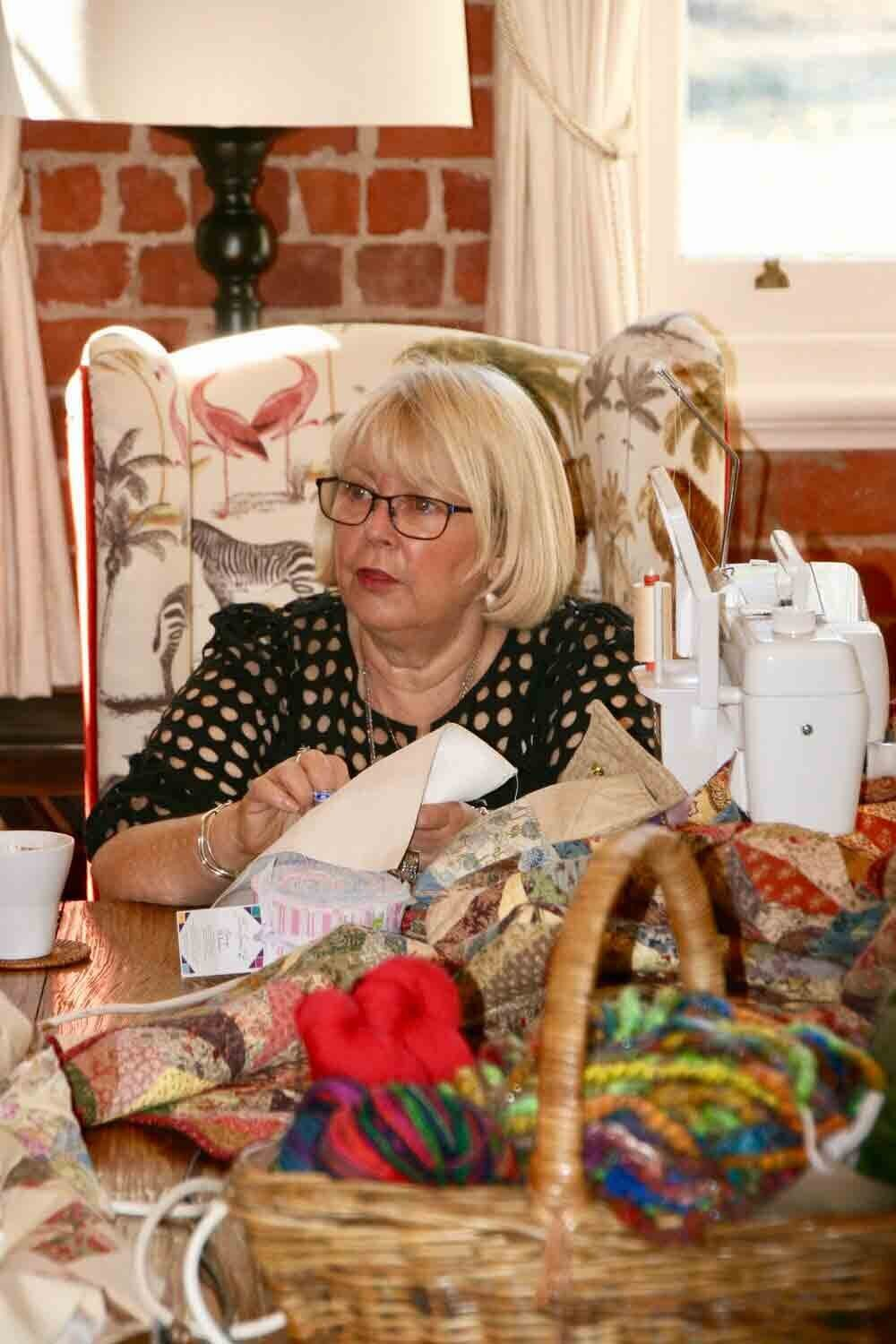 Hand sewing at The Eaglehawk Quilting Retreat