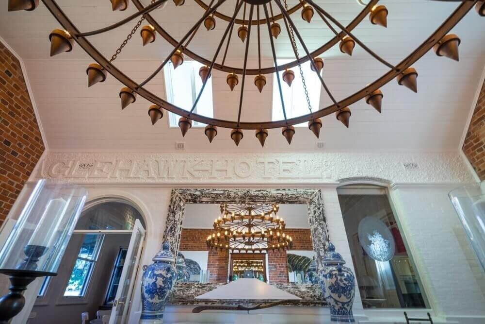 Chandelier and Historic Features in Dining Hall