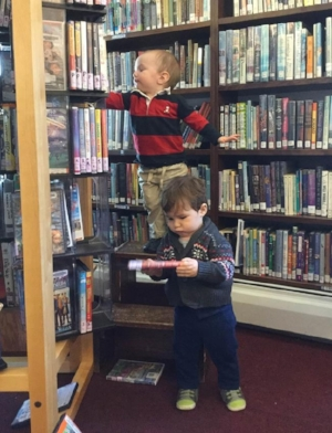 Young Librarians working hard at shelving dvds.