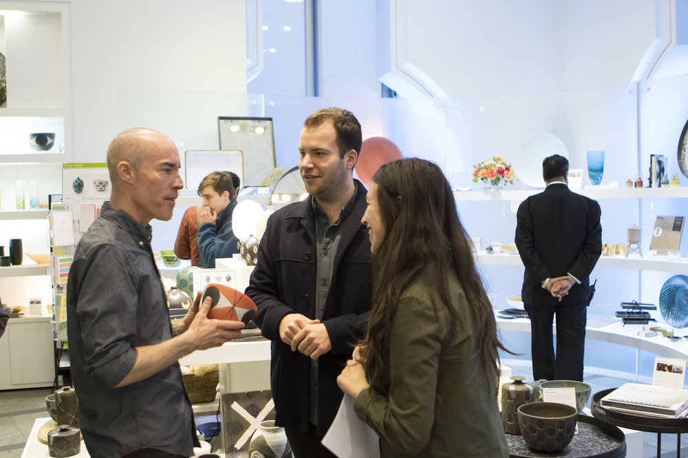 Lakeside Partner, Sophie Sagar, discussing with Architect Owen Maher and Ceramicist Matthew Ward at The Store at The Museum of Arts and Design