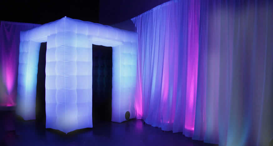 Our LED lit enclosed booth.
