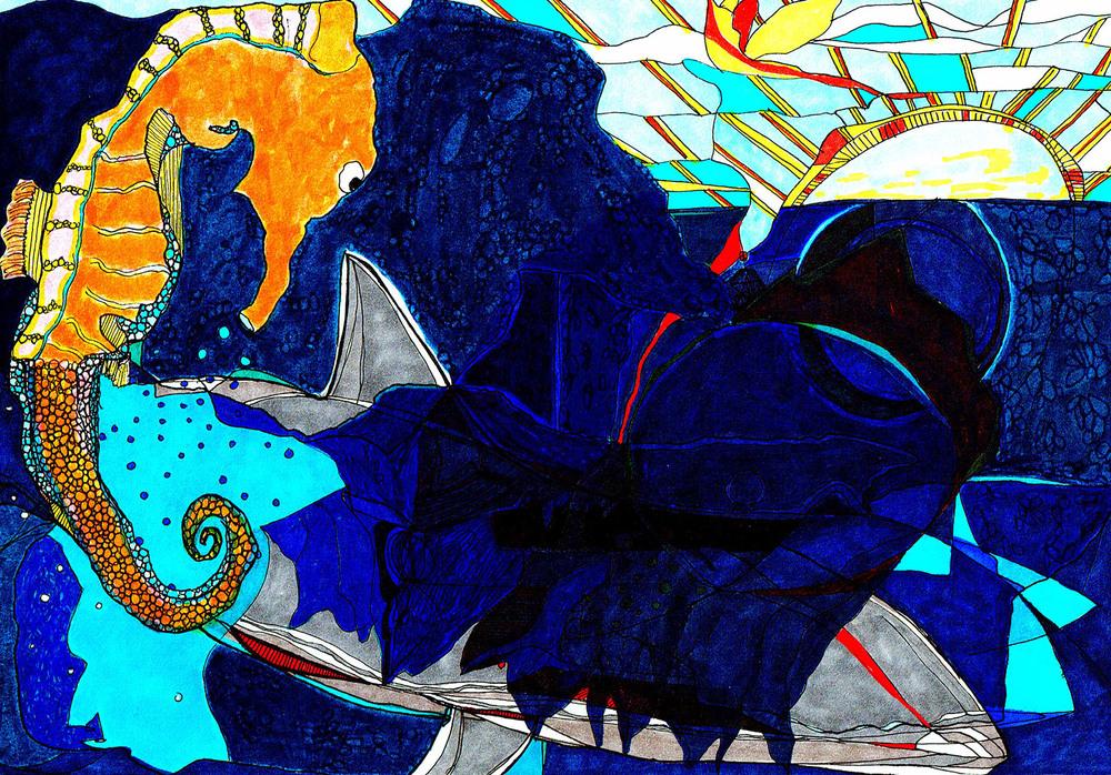 Seahorse, Sun, Shark
