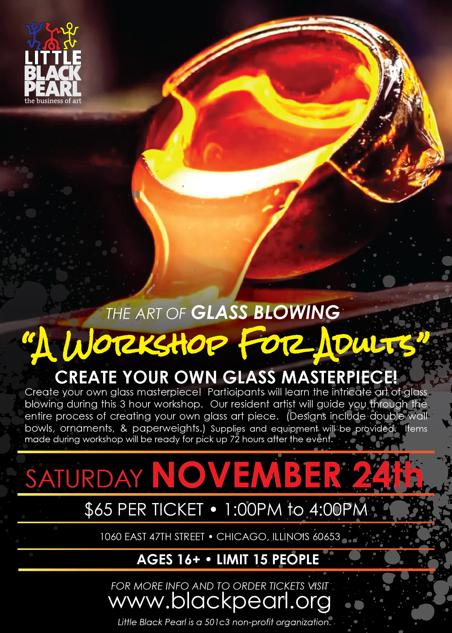 november 24 the art of glass blowing a workshop for adults