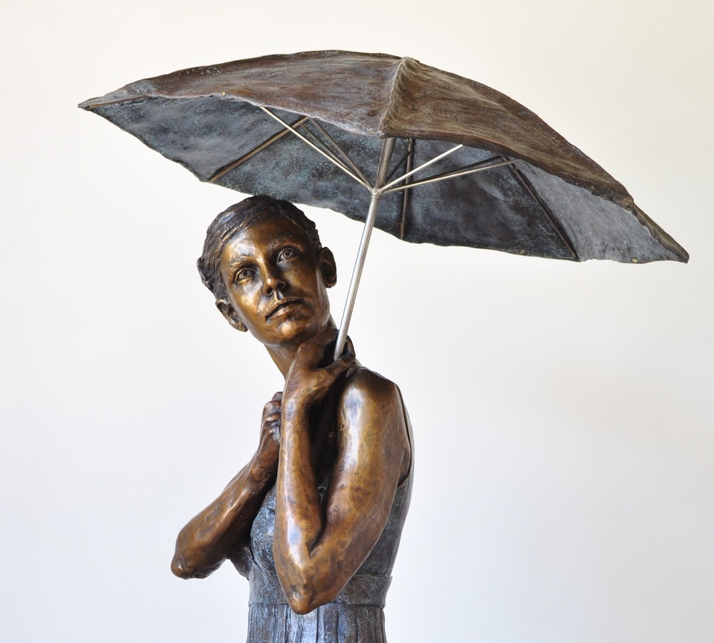 'Umbrella Girl: You Can Sit Under My Umbrella'  Limited Edition of Eight in Bronze  Dimensions: 160cm tall, seated