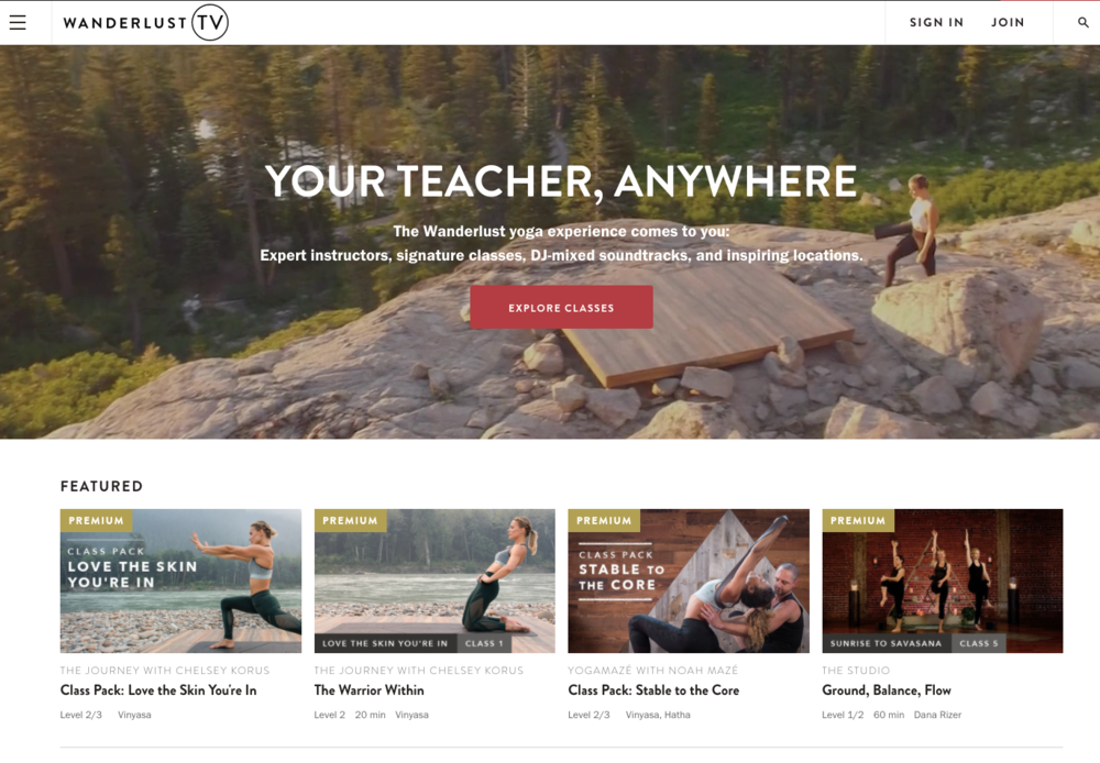 Wanderlust TV Yoga Platform