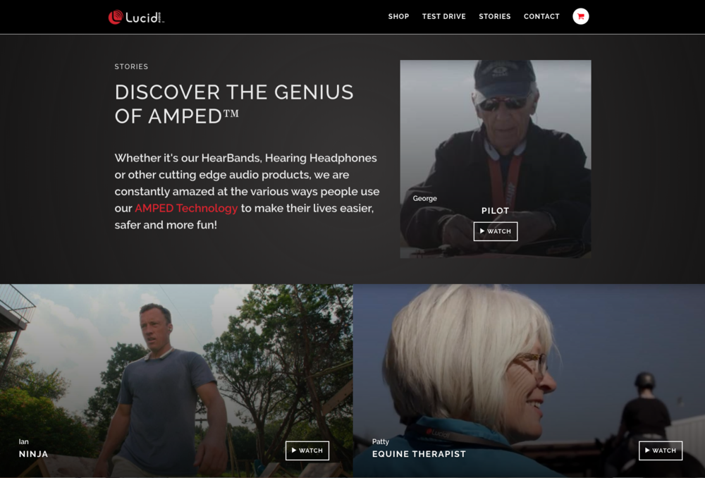 The video layout on Lucid Audio's Website