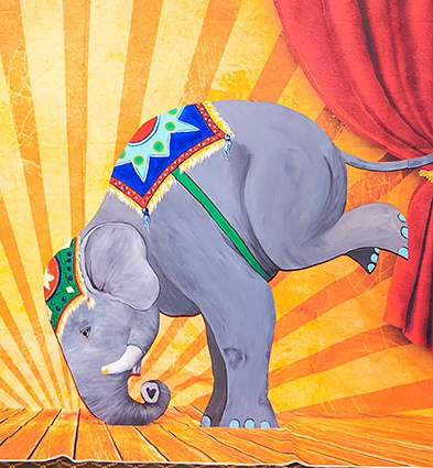 This Baby elephant is ready for tricks- 4.5' X 4'