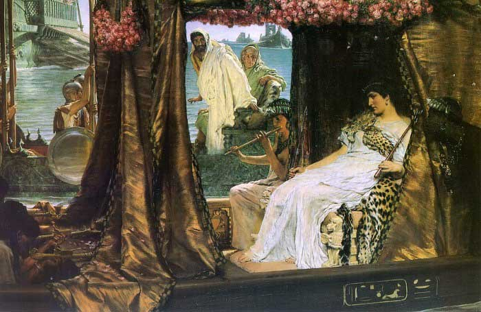 """The Meeting of Antony and Cleopatra,"" Lawrence Alma Tadema (1884) The famous Egyptian queen Cleopatra embraced the seductive effects of perfume. According to legend, she coated the sails of her boat with fragrant oils so that Mark Antony would delight in the scent of her marvelous arrival.  In the words of Shakespeare: ""The barge she sat in, like a burnish'd throne, Burn'd on the water; the poop was beaten gold, Purple the sails, and so perfumed that The winds were lovesick with them…"""
