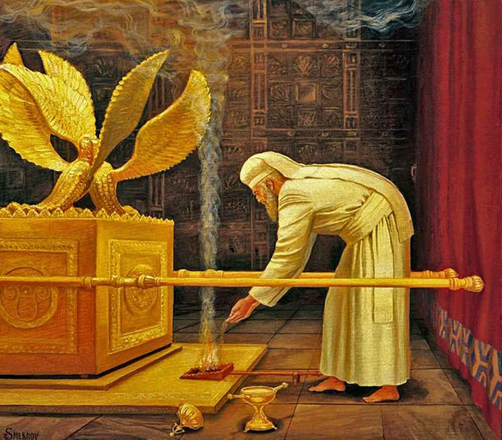 The Day of Atonement: the High Priest of Israel offering Ketoret incense before the Ark of the Covenant