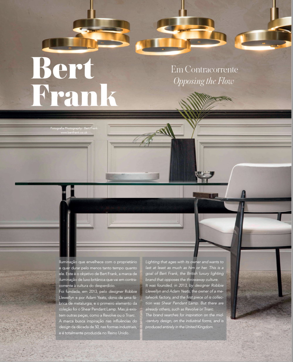 The beautiful Bert Frank Triarc chandelier featuring in the Portuguese Interiors and Architecture magazine 'Roof'.