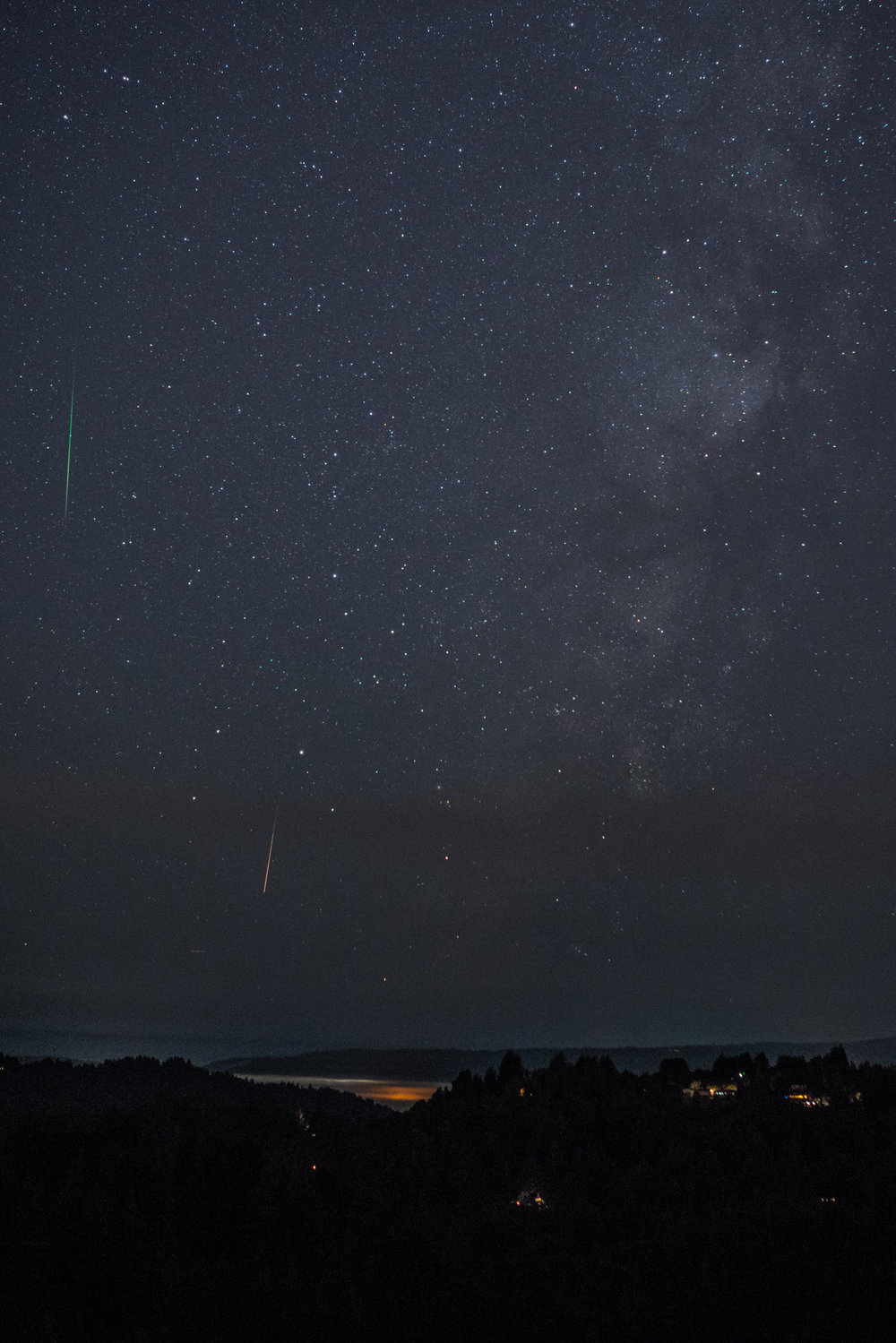 Perseid meteors burning up, viewed from Mt. Charlie Road