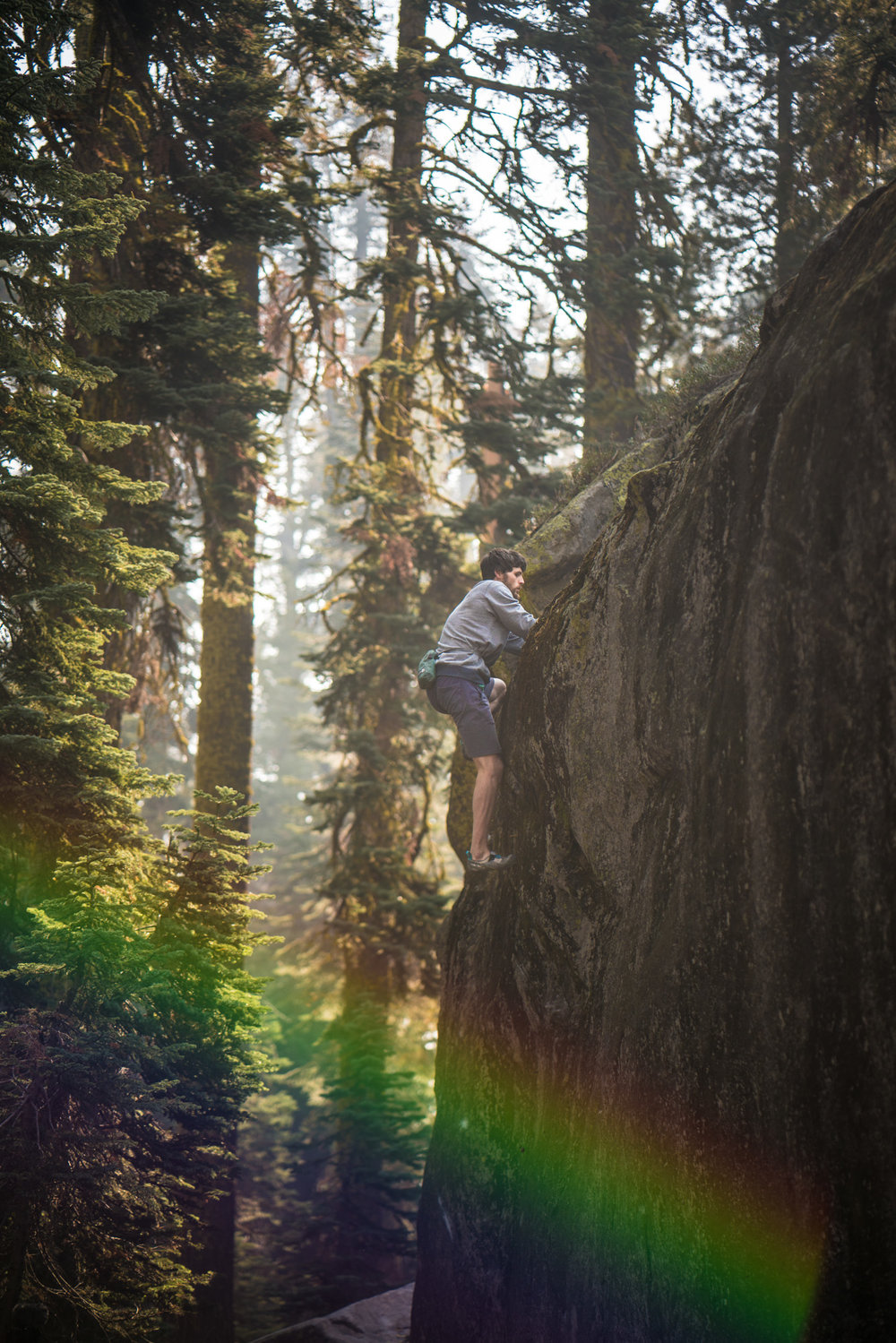 Hazy rainbow warmups while a wildfire raged in Desolation Wilderness