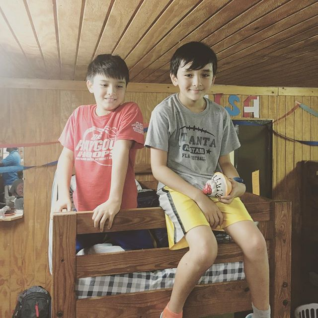 Two twins dropped off at camp. Two top bunks scored. #campcosby