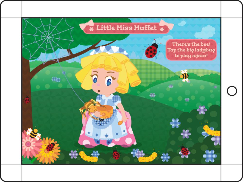 Mother Goose's Girls - Little Miss Muffet Tap the lady bug
