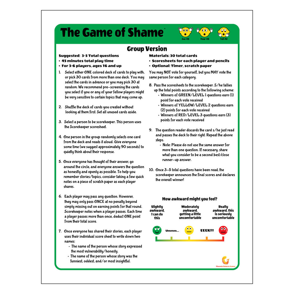 Rule Sheet Page 2 - Game of Shame