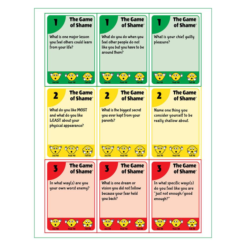Card Design Sheet - Game of Shame©