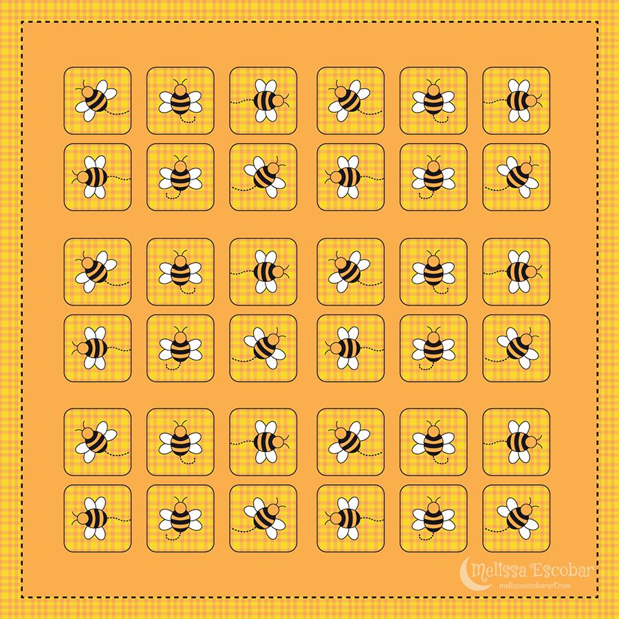 Bee Square Sticker Designs