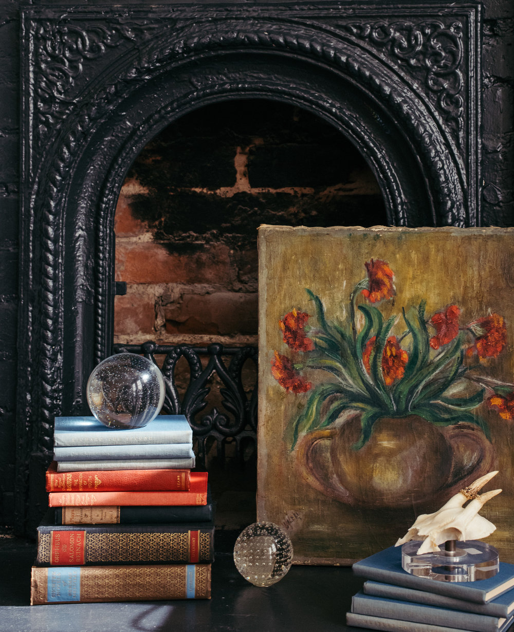 Various Antique Books and French Floral Painting - sourced from Fireside