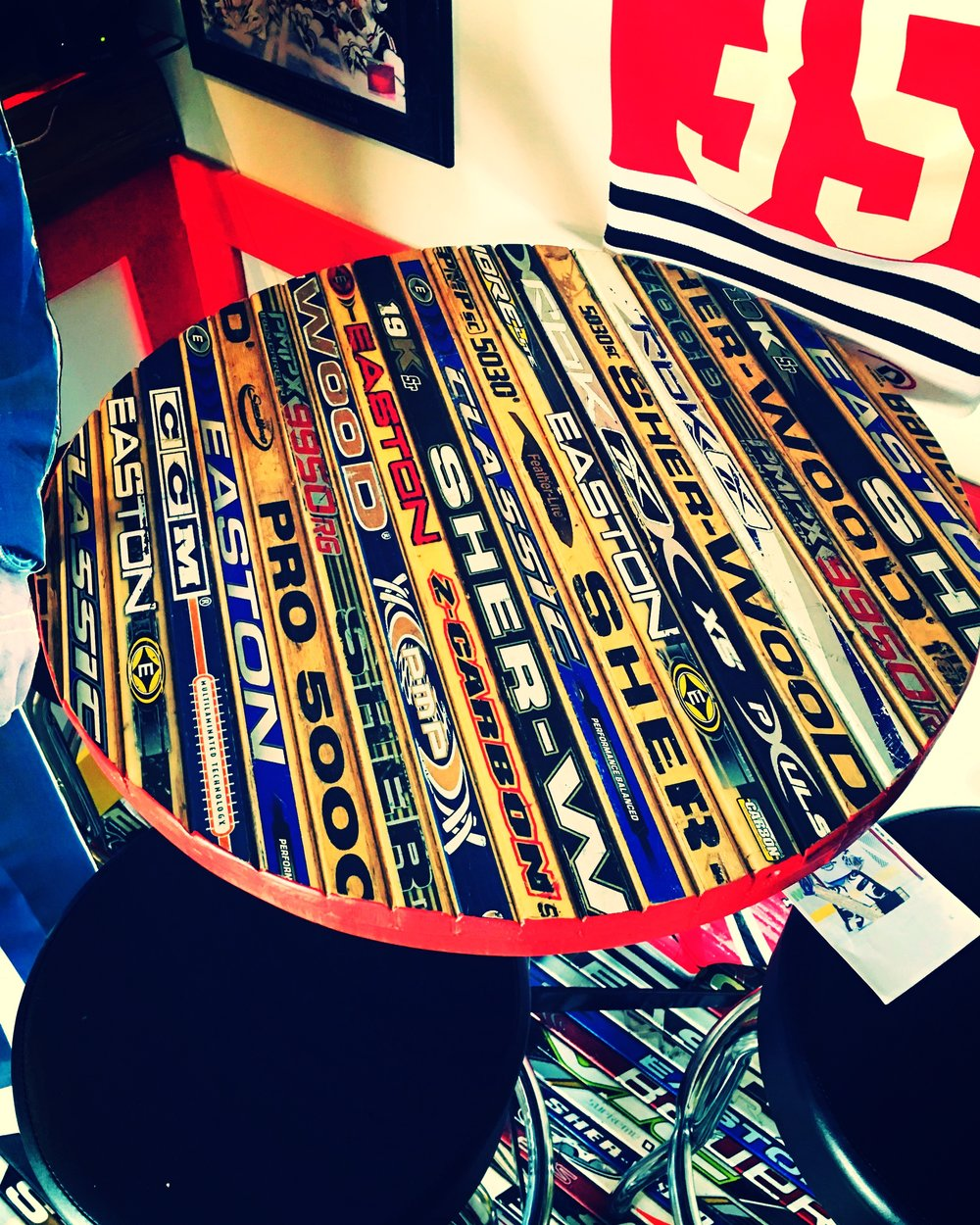 A Classic Hockey Stick Table