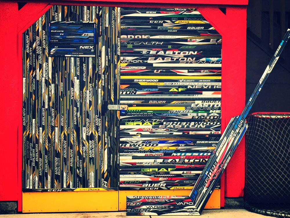 Hockey Stick Door & Giant Goalie Stick