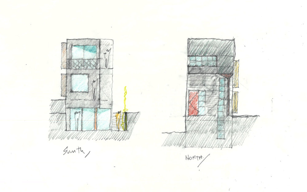 North and South elevations showing 'pop-out' boxes that were added to maximize square footage on the small lot. We really took advantage of every bit of city code to make the most of the land!