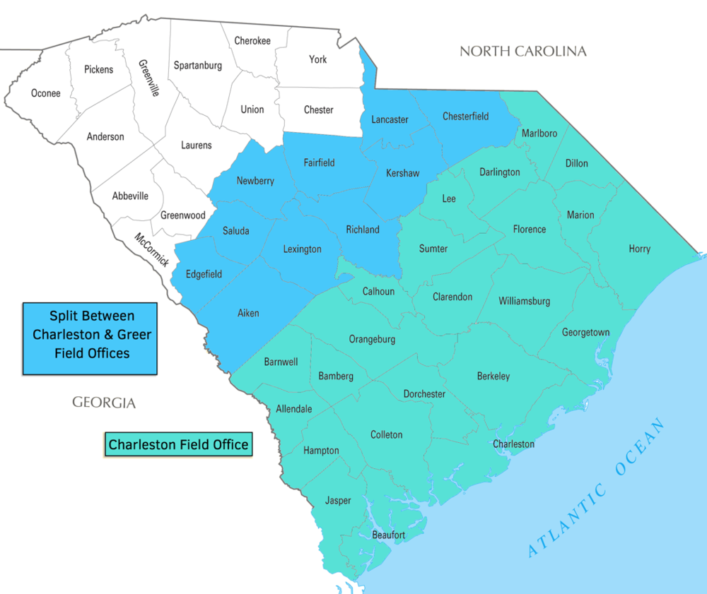 USCIS Charleston Field Office Map (Occam Immigration) Lawyer SC