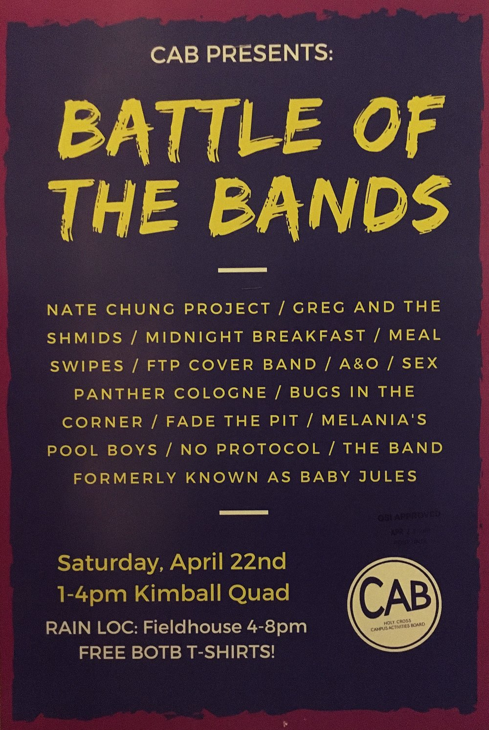 Battle of the Bands poster, 2017.